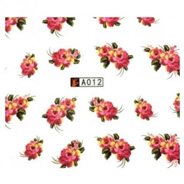 Decalque de  Água A012 Flores Rosa e Vermelhas