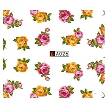 Decalque de Água A026 Flores Rosas e Laranjas