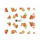 Sticker Água A027 Decalque de Água Flores Vermelhas e Laranjas