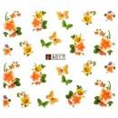 Decalque de  Água A017 Flores Laranjas com Borboletas