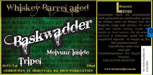 eticheta Baskwadder Tripel Whiskey Barrel Aged