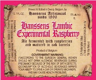 eticheta Hanssens Lambic Experimental Raspberry