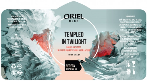 eticheta Oriel X Bereta Templed In Twilight BA (w Blood Orange, Vanilla And Lactose)