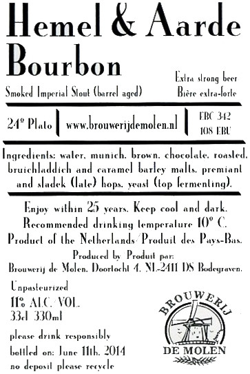 eticheta de Molen Hemel & Aarde Bourbon BA