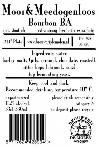 eticheta De Molen Mooi & Meedogenloos Bourbon BA