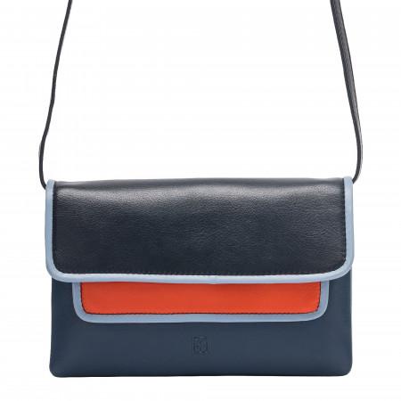 DUDU Borsa a Tracolla da Donna Multi-color in Pelle Nappa con Patta forma Rettangolare Colorata