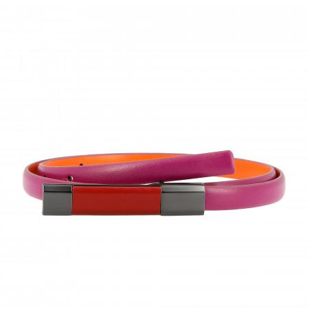 DUDU Cintura Donna in Vera Pelle Made in Italy Bicolore H 12mm Accorciabile Fibbia con Pin