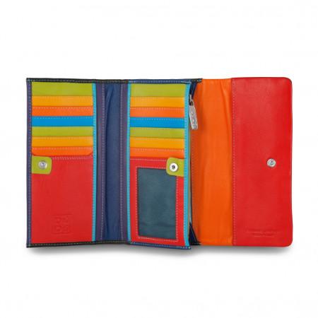 Portafoglio da donna in pelle morbida colorato Trifold porta carte con patta DUDU