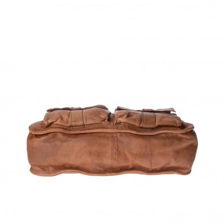 Borsa a tracolla in pelle vissuta tinta in capo con 2 manici DUDU