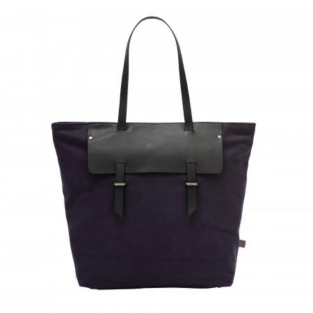 DUDU Borsa Tote Shopper da Donna in Pelle e Canvas Bicolore Shopping Bag Grande con Chiusura a Cerniera