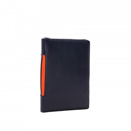 DUDU Cartella Portadocumenti A4 con Zip in Pelle Nappa Organizer Portablocco a Cerniera con Alloggio Tablet