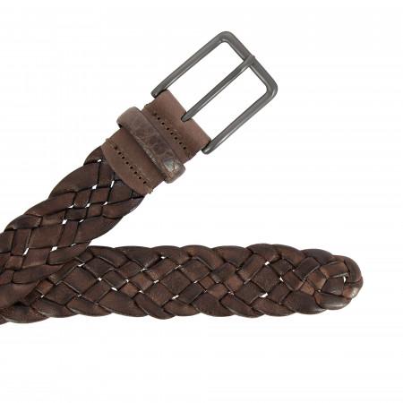 DUDU Cintura Intrecciata Uomo Donna in Vera Pelle Vintage Made in Italy Tinta in Capo H 3,5 cm