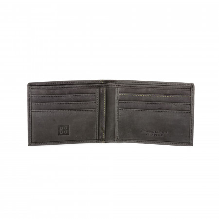 DUDU Portafoglio uomo Slim Sottile in Pelle Vintage Bifold con tasche Porta Carte di credito e Banconote