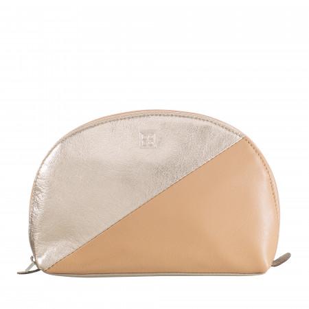 DUDU Beauty Case Trousse da Viaggio in Pelle Pochette Porta Trucchi Rosa Metal Fashion con Cerniera Zip
