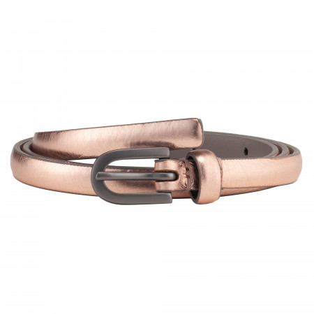 DUDU Cintura Donna Sottile in Pelle Morbida Made in Italy Bicolore Rosa Elegante Slim
