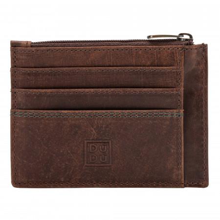 DUDU Porta carte di credito Portamonete Uomo in Pelle Vintage invecchiato Portafoglio Slim con Cerniera Zip