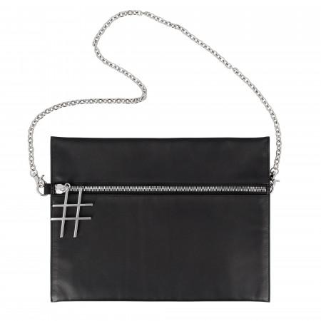 DUDU Borsa a Tracolla Nera Donna in Pelle con Catena Elegante di Design Sottile con Cerniera Zip