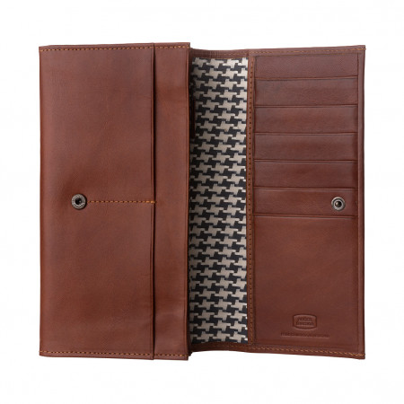 Antica Toscana Portafoglio donna a due soffietti in Vera Pelle con patta e bottone Porta Carte Tessere e Cerniera interna