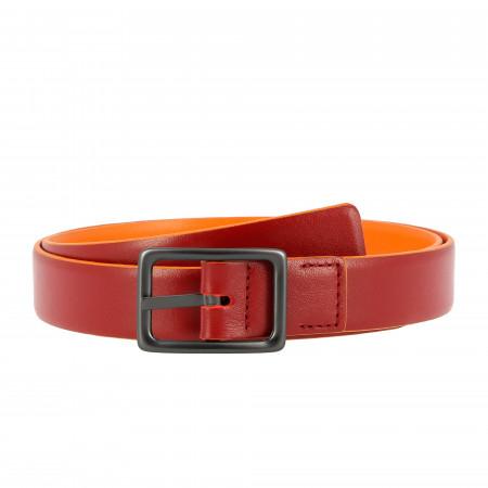 DUDU Cintura da Donna in Vera Pelle Made in Italy Bicolore Accorciabile H 24mm con Fibbia in Metallo
