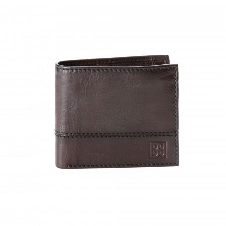 Portafoglio uomo piccolo in vera pelle con portamonete e tasca interna con zip DUDU
