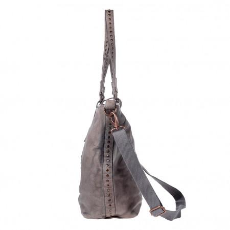 Borsa donna Retrò Vintage a tracolla Shopper grande in Vera Pelle con borchie DUDU