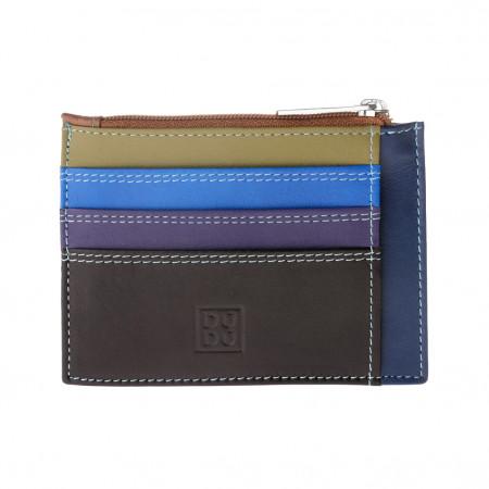 Bustina porta carte di credito in vera pelle colorata portafogli con zip DUDU