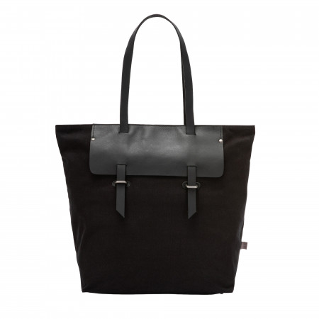 DUDU Borsa Tote Shopper da Donna in Pelle e Canvas Bicolore Shopping Bag Grande con Chiusura a Cerniera