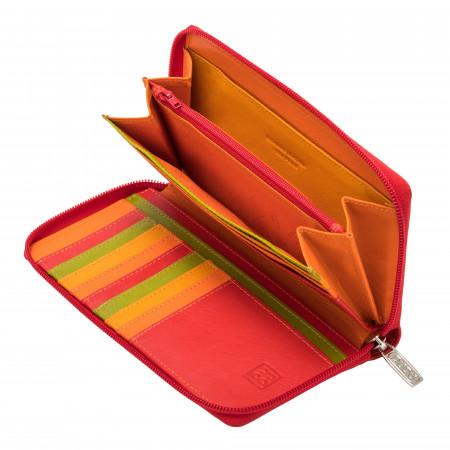DUDU Portafoglio Donna Grande con Cerniera in Pelle Nappa Zip Around 15 Tasche Porta Carte di credito e Portamonete