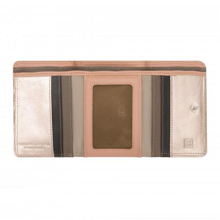 DUDU Portafoglio Donna Piccolo in Pelle Rosa Metallizzata Trifold con Portamonete e Carte di Credito Tessere