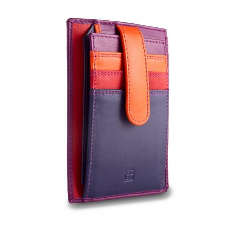 Porta carte di credito in pelle multicolore con fettuccia DUDU