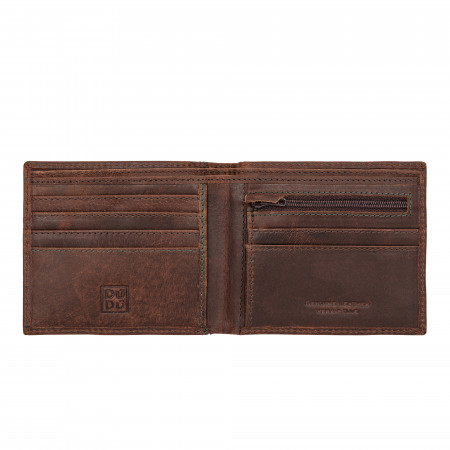 Portafoglio uomo vintage in vera pelle vissuta portamonete e carte con zip DUDU
