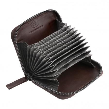 Antica Toscana Porta carte di credito con Cerniera Zip Around a giro in Vera Pelle e 11 Tasche Porta tessere