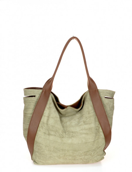 BORSA DONNA SACCA CON MANICI IN PELLE EFFETTO PITONE MONTINI GELSOMINA SNAKE MADE IN ITALY