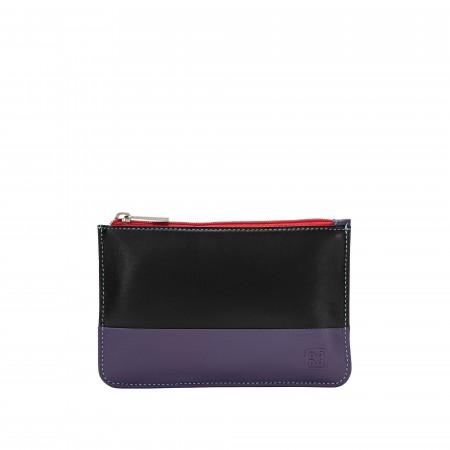 Bustina portatutto donna in vera pelle colorata con zip e 3 tasche porta carte DUDU