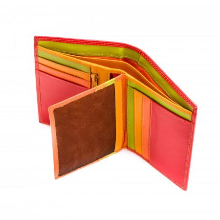 Portafoglio da uomo a libro in pelle multicolore con lampo DUDU