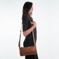 Borsa a tracolla donna in pelle lavata borchie e tracolla DUDU