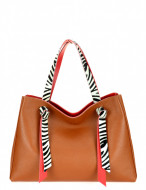 BORSA DONNA SHOPPING IN PELLE BICOLORE CON MANICI CAVALLINO ZEBRA MONTINI GERMANIA MADE IN ITALY
