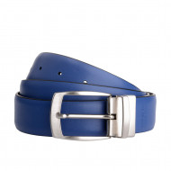 DuDu Cintura Uomo Reversibile Double Face Made in Italy in Vera Pelle da 33mm Accorciabile con Fibbia girevole