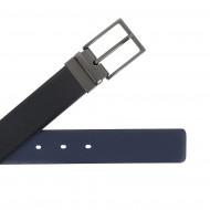 Nuvola Pelle Cintura Uomo Reversibile Double Face in Pelle Made in Italy H 34mm Accorciabile con Fibbia Girevole