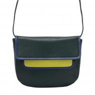 DUDU Borsa donna a Tracolla in Pelle Vera Nappa Colorata Multicolor con Patta e chiusura a bottone magnetico