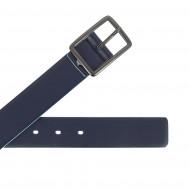 DUDU Cintura Uomo in Vera Pelle Morbida Made in Italy Bicolore H 34mm Accorciabile Stile Casual