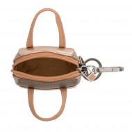 DUDU Portachiavi Portamonete a Borsetta Donna in Pelle Metallizzata Mini Bag con Cerniera 2 Anelli e Moschettone