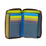 DUDU Portafoglio Uomo con Cerniera intorno esterna a giro in Vera Pelle Multicolore con Portamonete