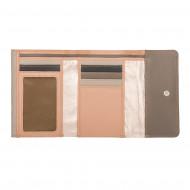 DUDU Portafoglio Donna in Pelle Metallizzata Rosa con Doppia Patta Portamonete e Carte Tessere