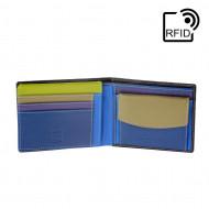DUDU Portafoglio uomo RFID schermato Colorato in Vera Pelle formato Classico con Portamonete e Porta carte di credito
