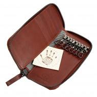 Antica Toscana Portachiavi in Vera Pelle a 8 ganci con Cerniera Zip Around e 5 tasche Porta Carte di credito