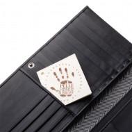 Antica Toscana Portafoglio donna Grande Capacità Lungo in Vera Pelle con Bottone Zip Porta Carte & Documenti