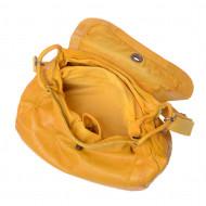 Borsa lavata donna in pelle tinta in capo con tracolla e patta DUDU