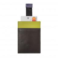 DUDU Porta Carte di Credito e Biglietti da Visita in Pelle Piccolo e Sottile Colorato Tascabile con Pull Up
