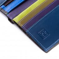 DUDU Portafoglio uomo Verticale a libro in Vera Pelle multicolore con Cerniera lampo zip e Porta carte